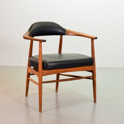 Scandinavian Design Solid Teak Desk Chair with Black Leatherette, Denmark 1960s