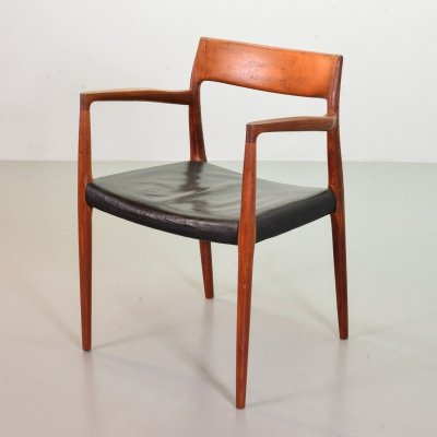 Niels Otto Moller Solid Teak Desk / Side Chair Model 57, Denmark 1960s