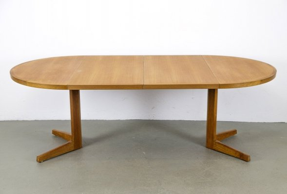 Round Teak Dining Table with two extension leaves, 1970
