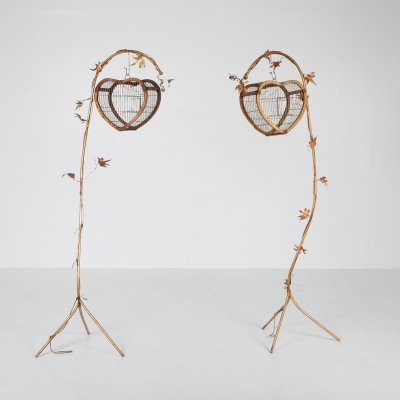 Gilt Metal Pair of Birdcage Stands, 1970's