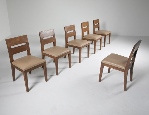 Set of 6 Liaigre Dining Chairs in Stained Oak & Leather, 1999
