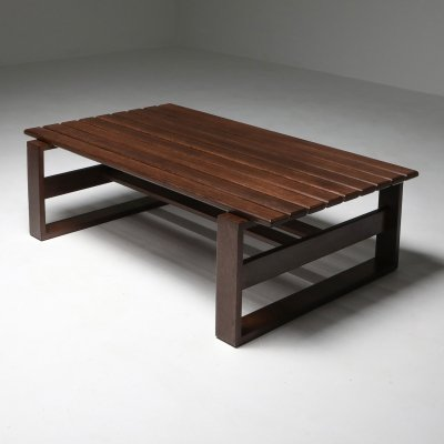 Wengé Slatted Bench or Coffee Table, 1960's