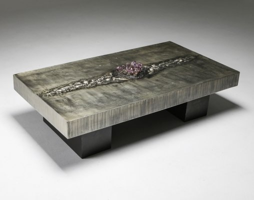 Aluminum Etched Coffee Table with Amethyst Inlay by Marc D'Haenens, 1970's