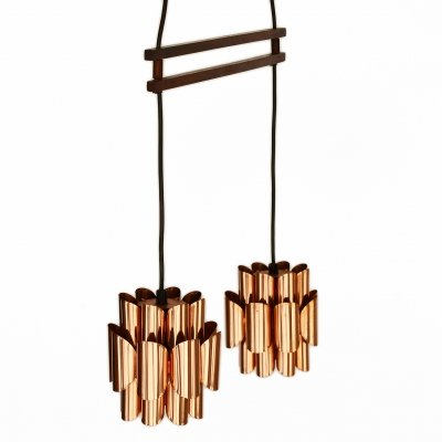 Double copper pendant light by Werner Schou for Coronell Elektro, Denmark 1960s