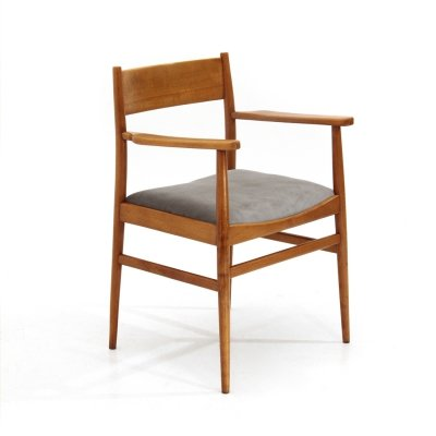 Chair with armrests in wood & velvet, 1950s