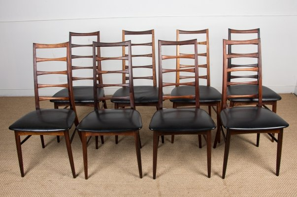 Set of 8 Danish Rosewood Liz Chairs by Niels Koefoed for Koefoeds Hornslet, 1960s