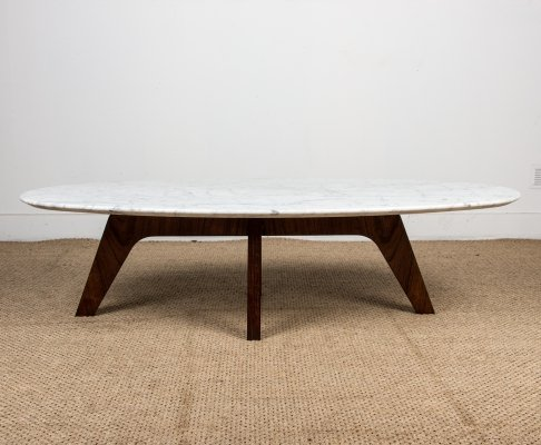 Marble & Rosewood Coffee Table by Hugues Poignant for Roche Bobois, 1970s