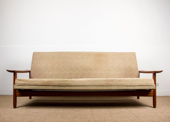 Very Large Danish Teak & Fabric 4-Seater Sofa or Daybed, 1960s