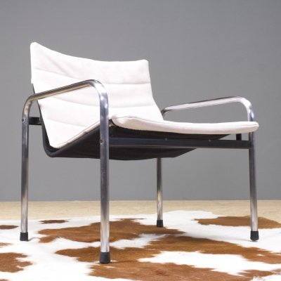 Just Meijer for Kembo lounge chair in canvas & chrome, 1970s