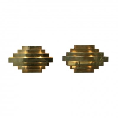 Pair Brass Wall Lamps,, 1970s