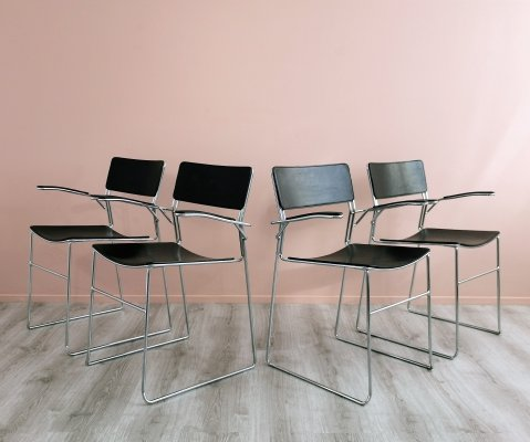 Set of Four Leather 'Sultana' Dining Chairs by Arrben Italy, 1980's