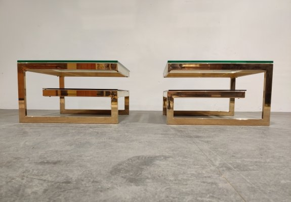 Pair of Golden G side tables by Belgochrom, 1970s