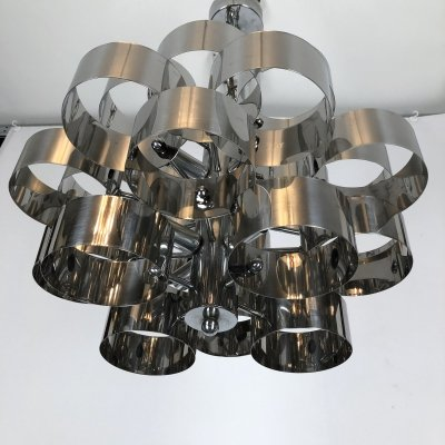 Italian space age chrome chandelier, 70s