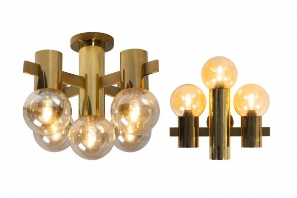 Brass wall & ceiling light by Hans Agne Jakobsson for Teka, 1950s