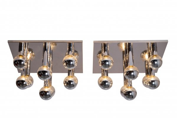 Pair of large ceiling lamps by Motoko Ishii for Staff Germany, 1970's