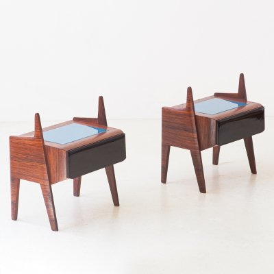 Pair of Italian Rosewood Bedside Tables with Glass Top, 1950s
