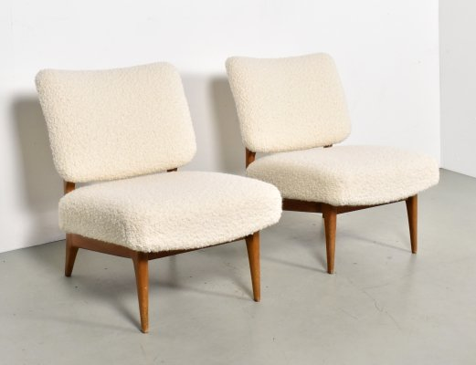 Pair of lounge chairs in Bouclé by Theo Ruth for Artifort, 1950s