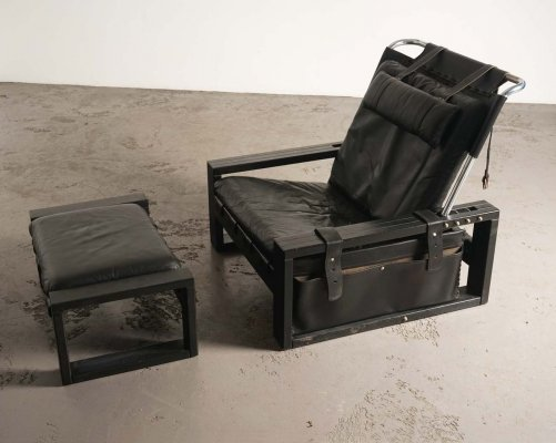 Brutalist arm chair with ottoman by Sonja Wasseur, ca 1970