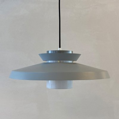 Grey hanging lamp by Bent Karlby for Lyfa Denmark, 1970s