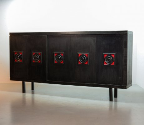 Large Brutalist Highboard Credenza in Black Wood & Red Accents, Belgium 1960s