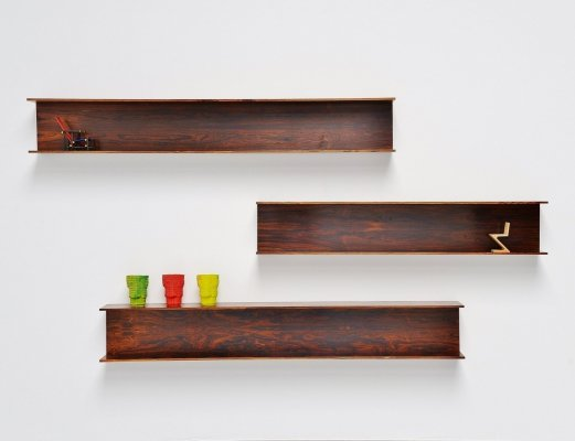 Walter Wirz rosewood wall shelves by Wilhelm Renz, Germany 1965