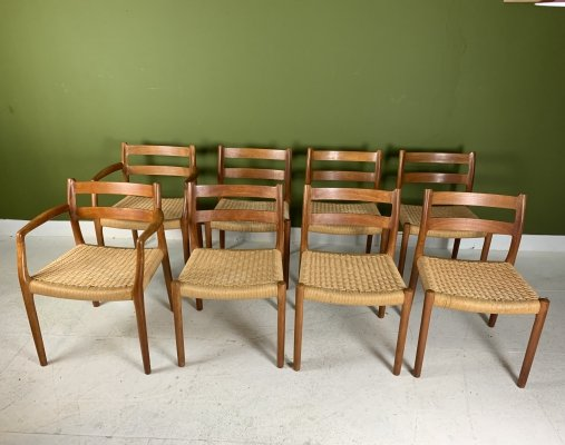 Niels O. Møller dining room chairs model 84 & 67 in teak with paper cord