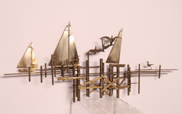Wall sculpture in brass by Curtis Jere, US 1960's