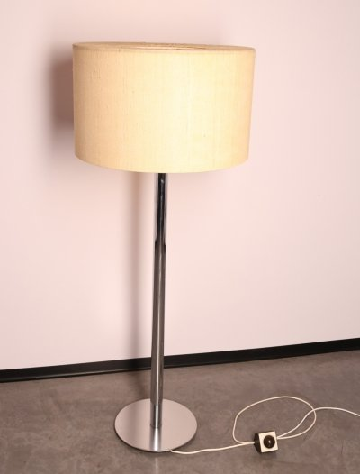 Floor lamp in chrome plated steel & fabric by Staff, Germany 1960's