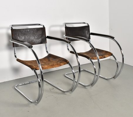 Pair of Mies Van Der Rohe MR20 Leather lounge chairs for Thonet, 1970s