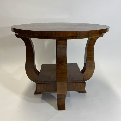 Cubist burr walnut side table, 1930s