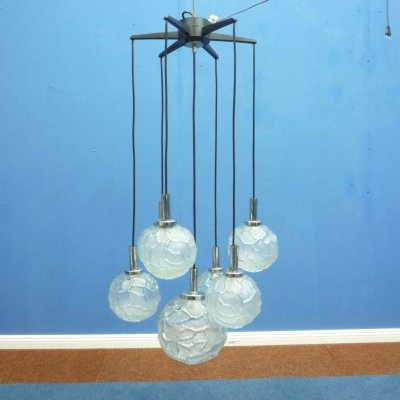 Cascade Ice Glass Hanging Lamp from Doria, 1960s