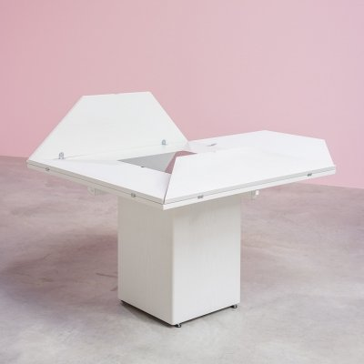 Postmodern white geometric table by Bob Van den Berghe for Van den Berghe Pauver