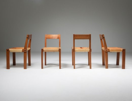 Pierre Chapo set of 8 'S24' Chairs in Solid Elm & Natural Leather, 1966