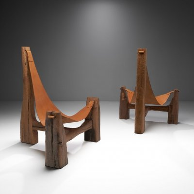 Pair of Tripod Lounge Chairs by Pavel Novak, Czechoslovakia 1980s