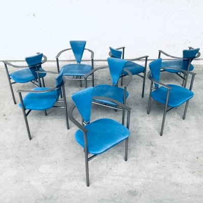 Set of 8 Postmodern Design Dining Chairs by Belgo Chrom, 1980's