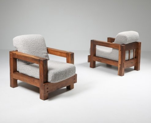 Rustic Modern Primitive Lounge Chairs in Bouclé, 1960s