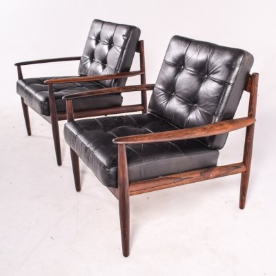 Pair of Rosewood Model 118 Armchairs by Grete Jalk for France & Son, 1960s