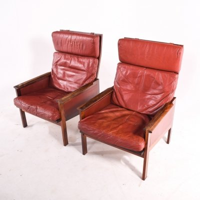 Pair of Rosewood Capella 'High Back' Armchairs by Illum Wikkelso for Eilersen