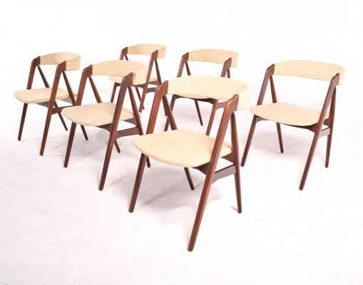 Set of Teak Dining Chairs by Th. Harlev for Farstrup Møbler