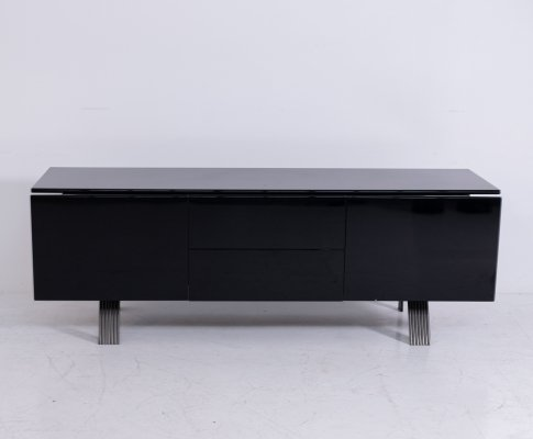 Italian sideboard in black laquered wood & steel, 1970s