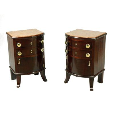 Pair of Night Stands with Marble Top, 1920s