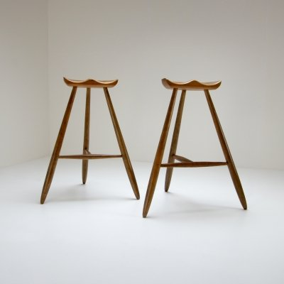Pair of Three-Legged Stools by Arne Hovmand Olsen, Denmark 1940s