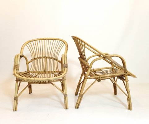 French rattan lounge chair, 1960s-1970s