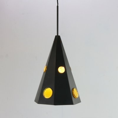 Sixties pendant lighting with yellow glass by Svend Aage Holm Sørensen