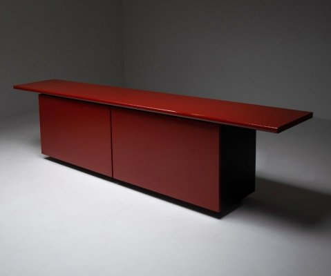 Red lacquer credenza by Giotto Stoppino for Acerbis, 1970s