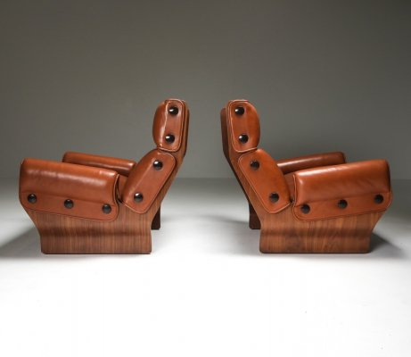 Borsani P110 'Canada' Lounge Chairs set in Cognac Leather, 1960's