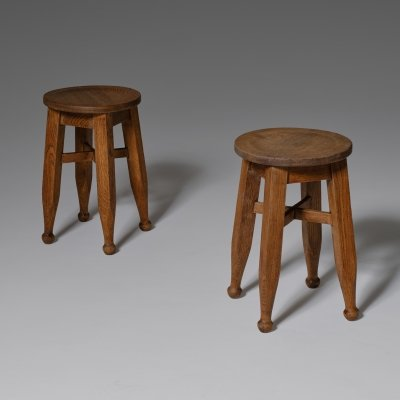 Set of two Arts & crafts Oak stools