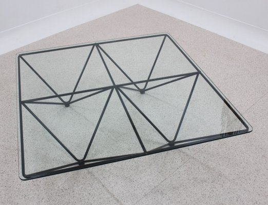 Italian design geometric large coffee table, 1980s