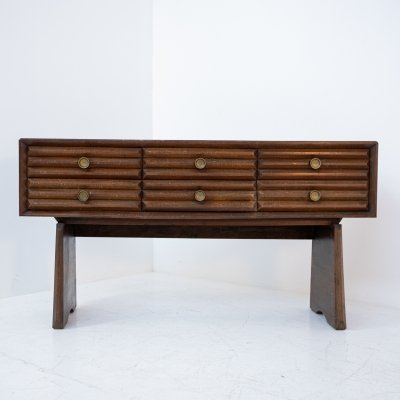 Paolo Buffa Italian Sideboard in walnut & Brass, 1950s