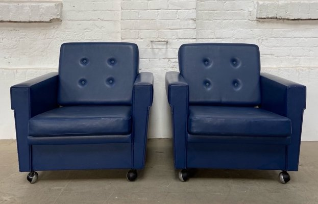 Pair of vintage leatherette armchairs, 1970s